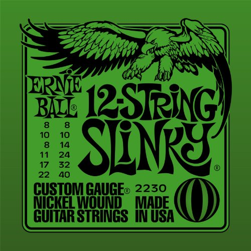 Ernie Ball 12-string Slinky Nickel Wound Set, .008 - .040 (Electric 12 String Guitar Strings)