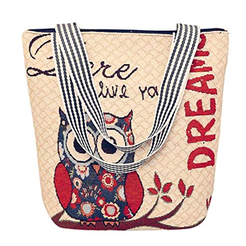 Hot Sale! Women Versatile HandBag, Neartime Unisex Canvas Cartoon Fashion Owl Print Large Capacity Laptop Shoulder Messenger Bag (❤️33cm(L)×10cm(W)×32cm(H), E)