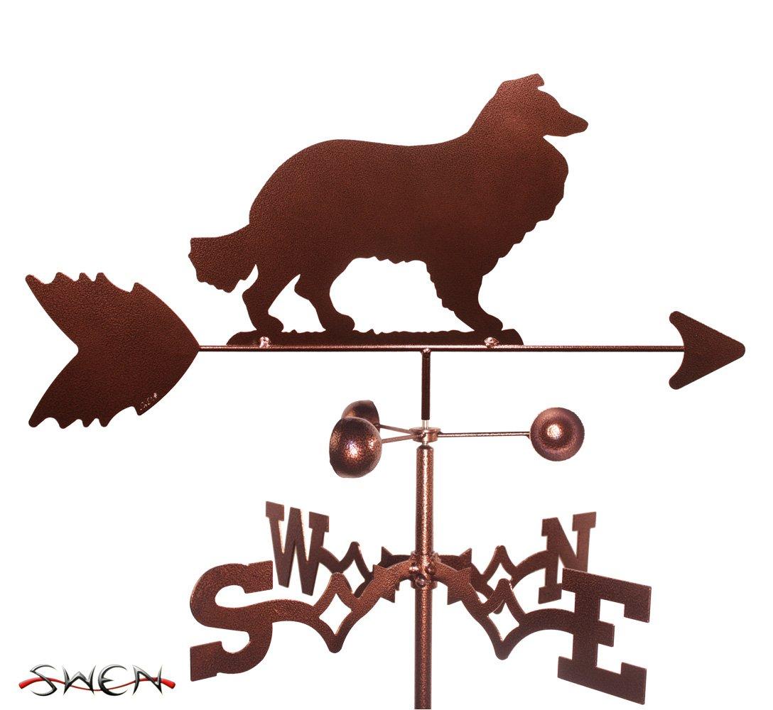 Hand Made COLLIE DOG FLAT POST Mount Weathervane ~NEW~