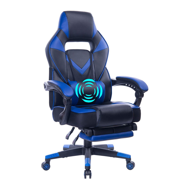 HEALGEN Reclining Gaming Chair with Adjustable Massage Lumbar Pillow and Footrest- Memory Foam PC Computer Racing Chair - Ergonomic High-Back Desk Office Chair GM005-Blue