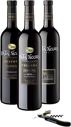 Pata Negra - Lote de 3 Botellas con D.O Valdepeñas y Sacacorchos de Regalo, Pack de 3 botellas x 75 cl: Amazon.es: Alimentación y bebidas