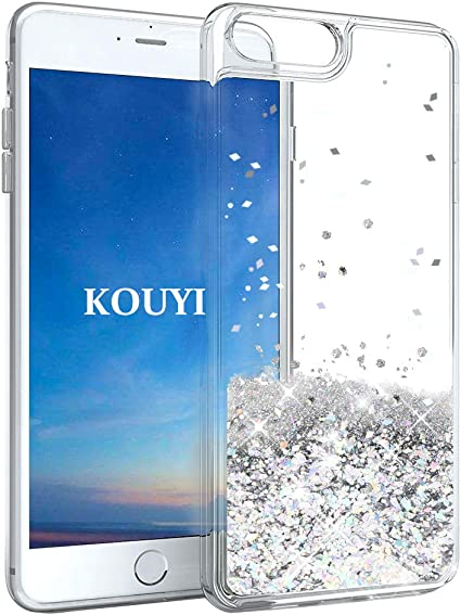 KOUYI Funda iPhone 8/7 Plus, Brillo Liquida Claro 3D Bling Cubierta Flowing Liquid diseño Cristal TPU Fundas Case Telefono Movil Smartphone Carcasas para Apple iPhone 8 Plus/iPhone 7 Plus (Plata): Amazon.es: Electrónica