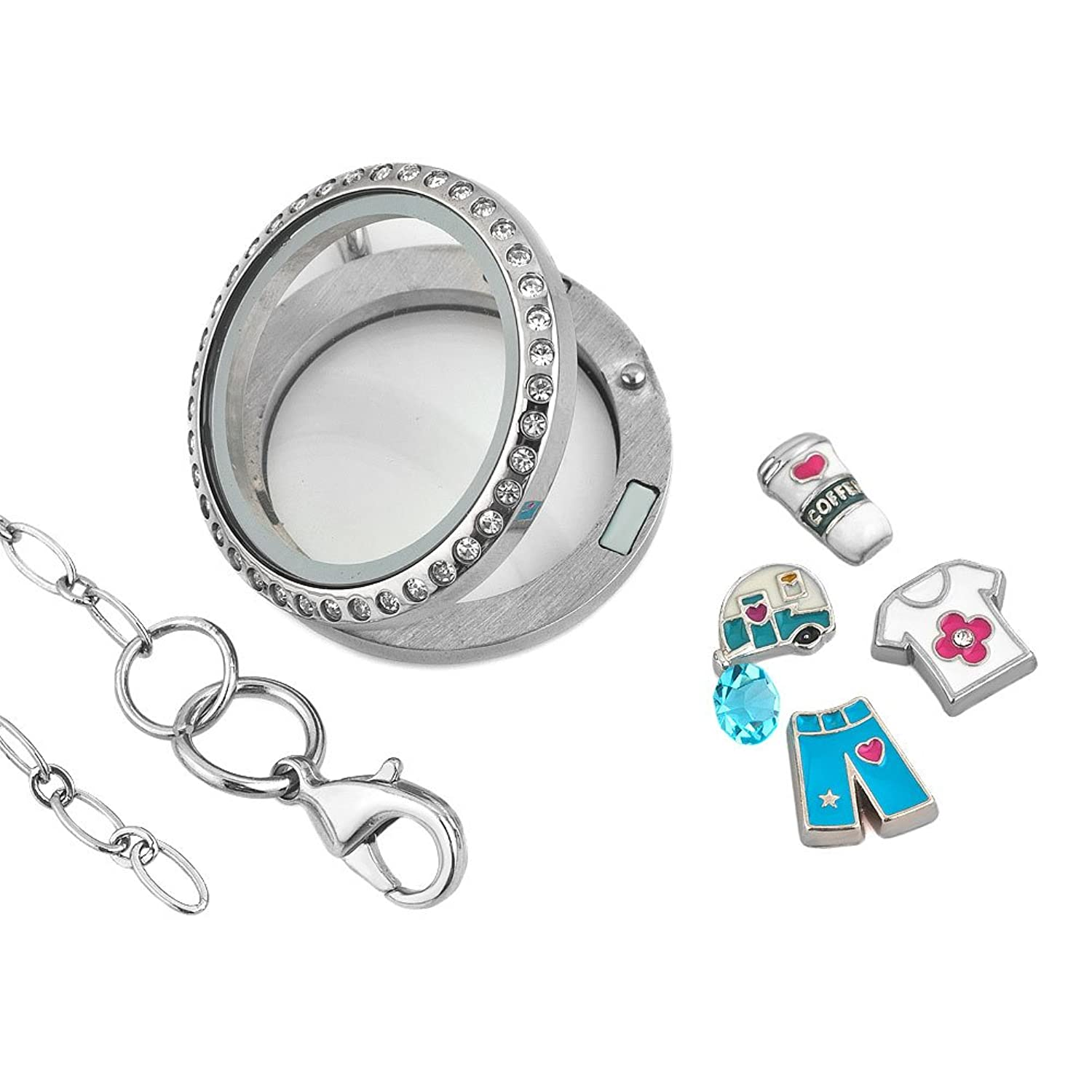 Amazon Q&Locket Love To Travel Funny Day Floating Charms Galss
