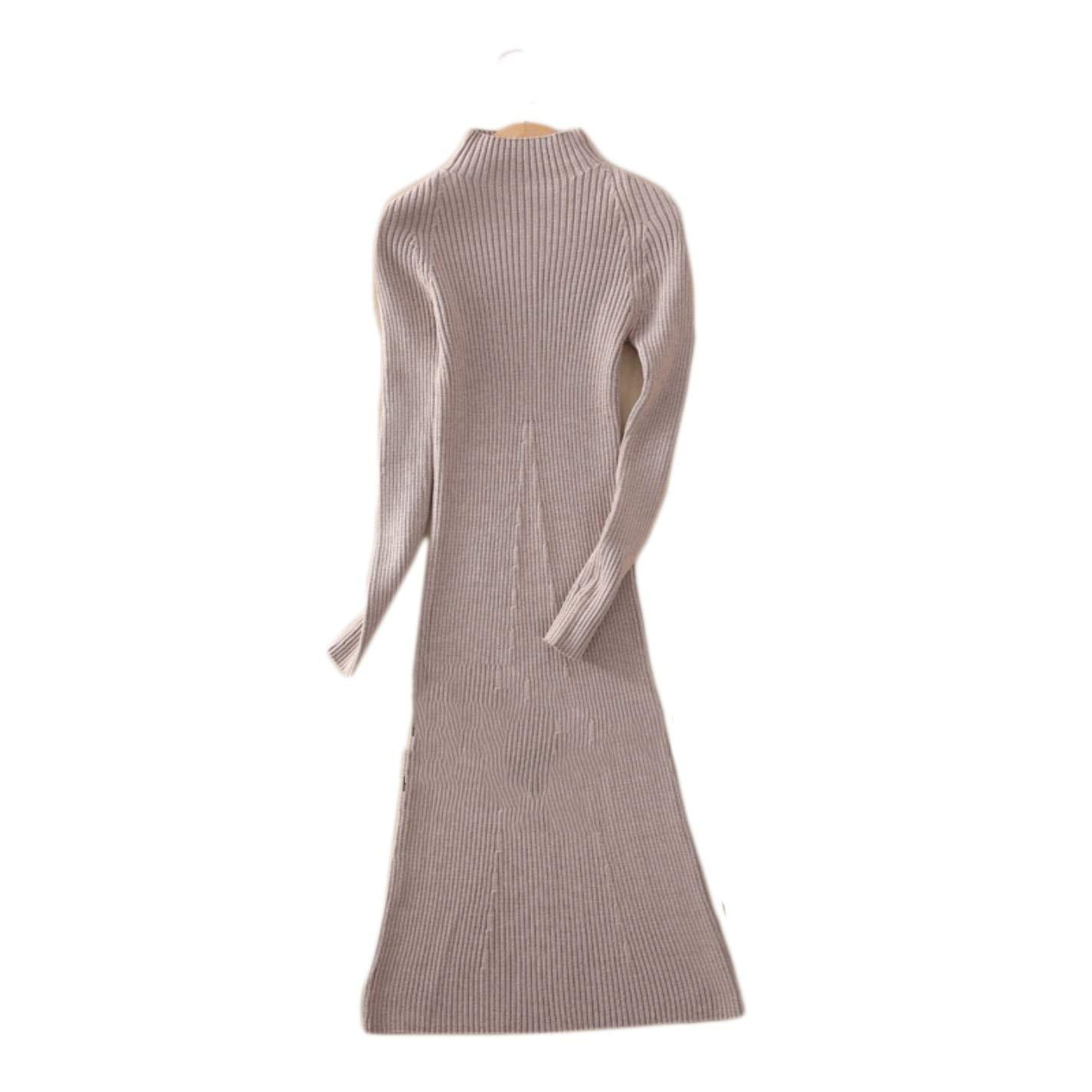 BlingGlri Womens high Collar Long Pullover Wool Sweater Ribbed Long Dress