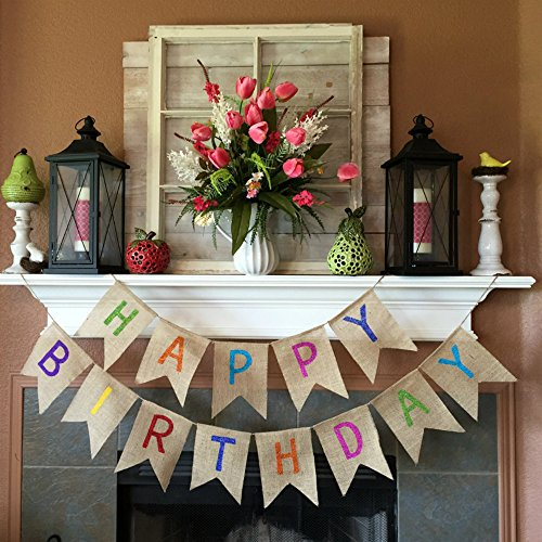 Vagski Happy Birthday Burlap Banner Colorful Bunting Banner Garland Flags for Birthday Party Decorations VAG041]()
