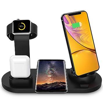 Estación de Carga Inalámbrica, Base de Carga 6 en 1 para Apple Watch y Airpods, Cargador Inalámbrico Rápido Qi Compatible con iPhone X / XS / XR / Xs ...