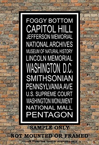 Washington D.C. Subway Sign Art Print - Iconic Points of Interest in D.C. - Multiple - Hills North Mall
