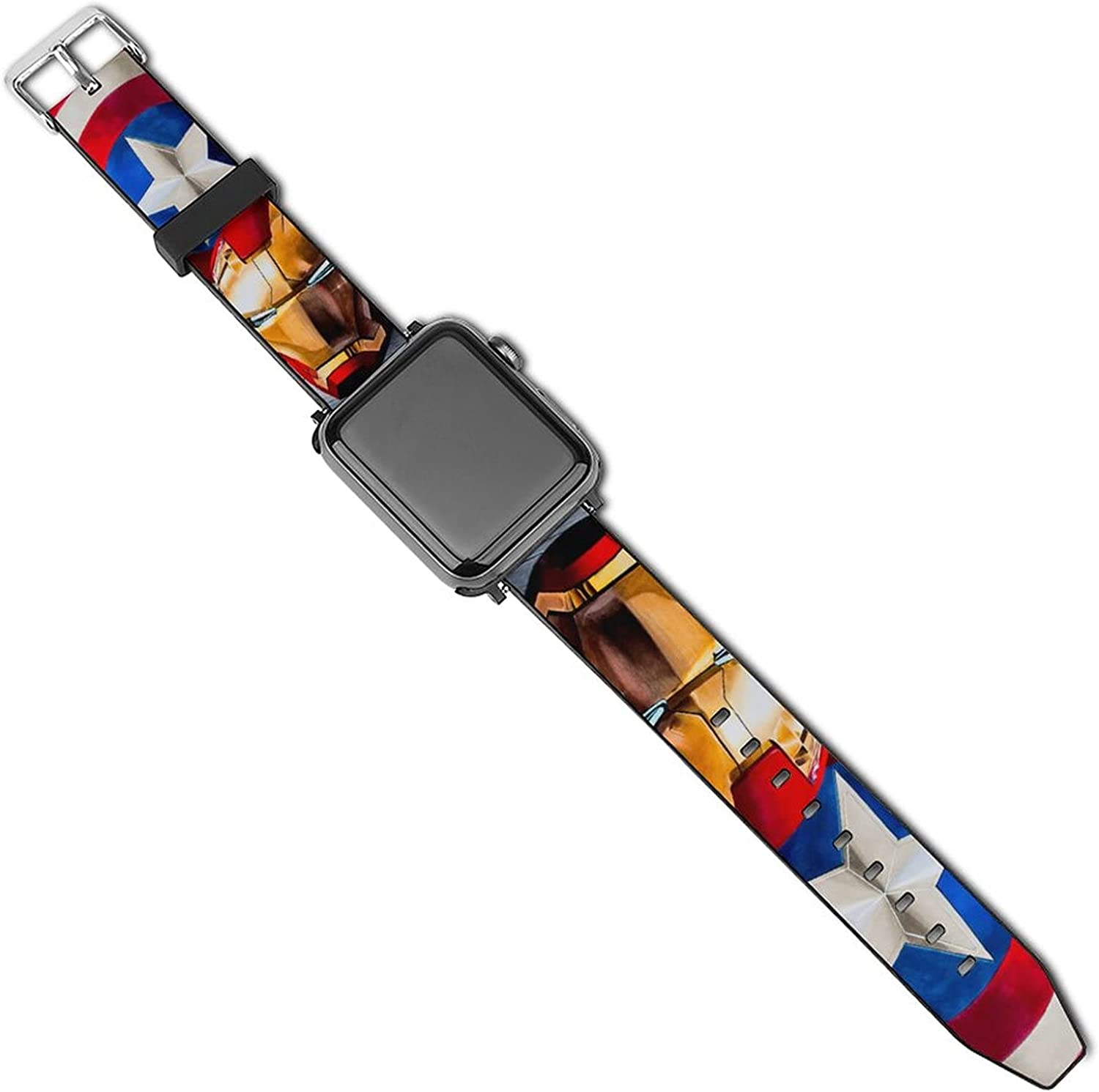 Thor And Captain America Art Apple Watch Band 44mm 42mm 40mm 38mm Leather Compatible iWatch Strap Compatible Apple Watch 5 4 3 2 1