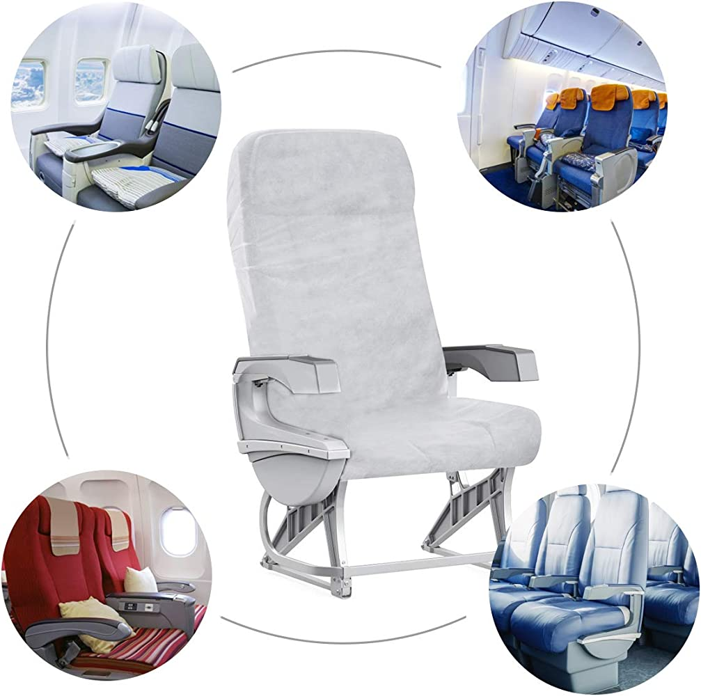 Vehicles Air travel Business Trip 5 Pcs Non-Woven Fabric Disposable Airplane Seat Covers-Safety Protection Portable Disposable Seat Protectors for Cars