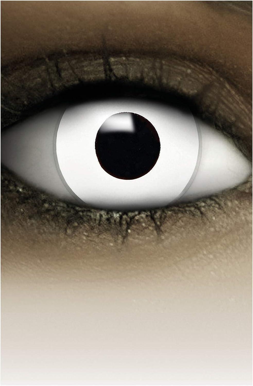 FXCONTACTS Lentes de contacto de Halloween de color, lentilla de motivo blanco, 1 par, un solo uso sin receta, disfrazarse como un ZOMBIE