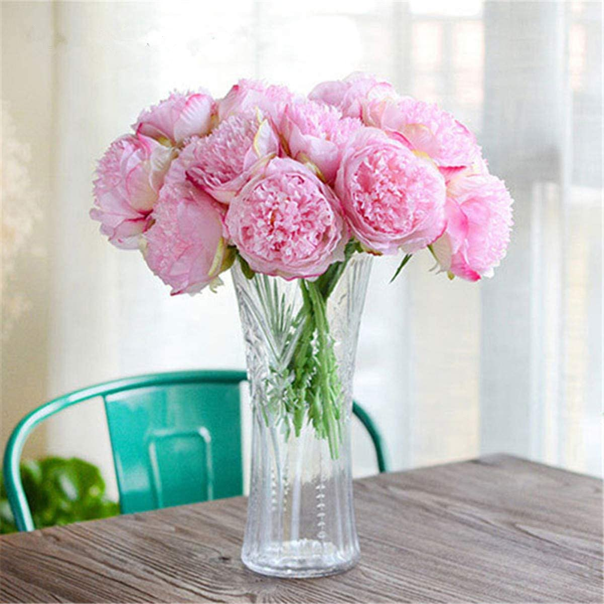 Dwe 5 Head Artificial Flower Fake Silk Peony Bridal Bouquet Christmas Wedding Party Home Decorative Deep Pink Amazon Co Uk Kitchen Home