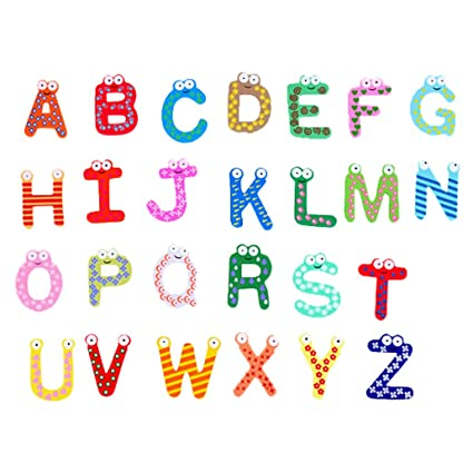DEHANG Colorful Magnets Fridge Magnetic Letters ABC Alphabet Wooden Kid Funky Toys