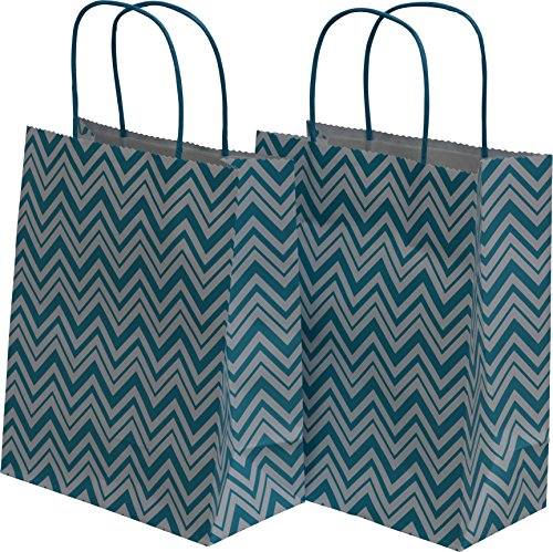 "Medium Kraft Gift Bag, New Chevron Design, 2 packs bulk set of 24 bags (Teal & White, Medium 8"" x 10"" x 4"")"