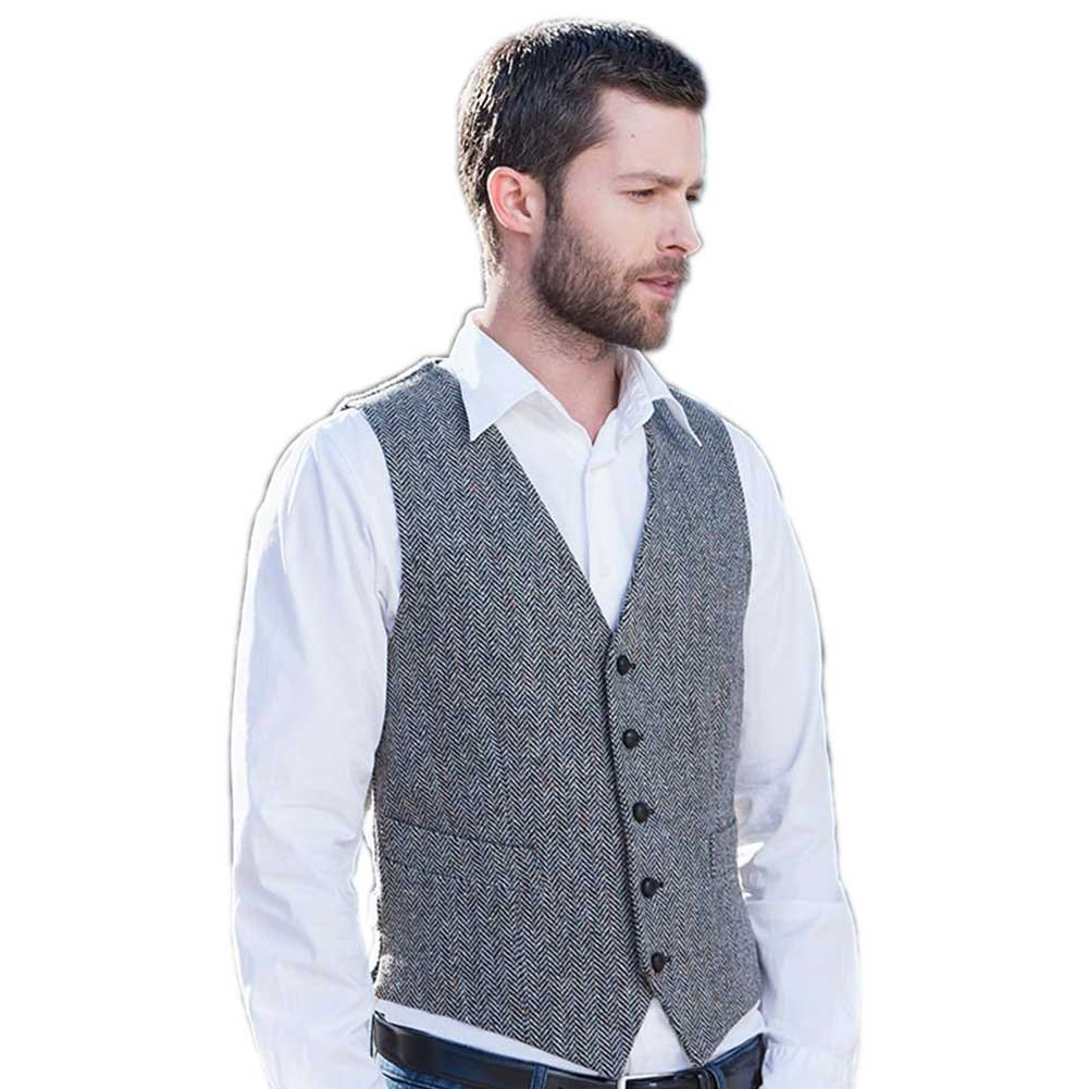 Mucros Weavers Men's Tweed Vest - Gray