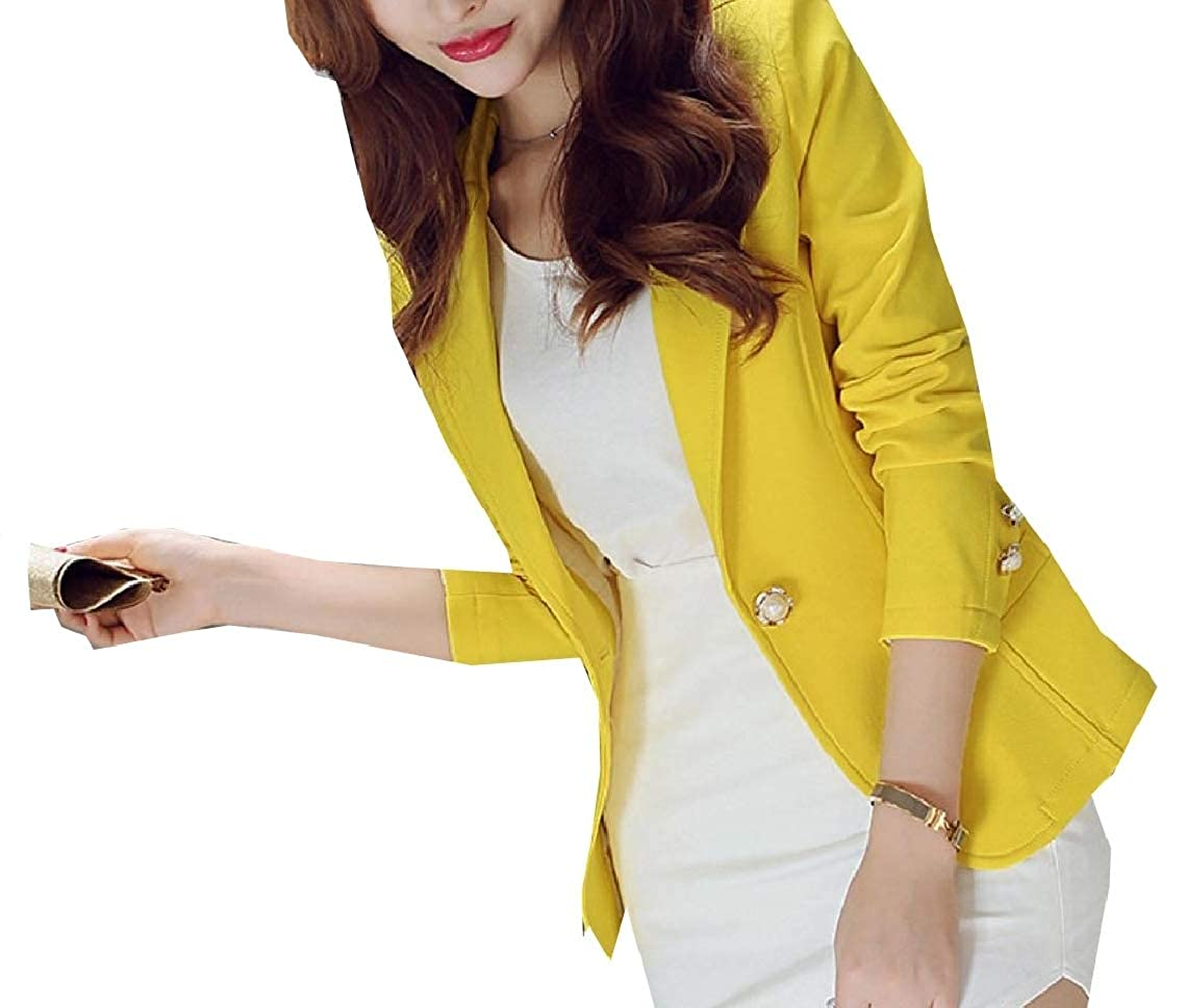 Godeyes Womens Button Short Solid Long Sleeve Lapel Fitted Blazer Outwear