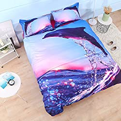 "Beddinginn 4Pcs 3D Tencel Cotton Blend Jumping Dolphin Bedding Sets Duvet Cover Set.1 Duvet Cover+2 Pillowcase+1 Flat Sheet.No Comforter Included (Twin Size 60""x80"")"