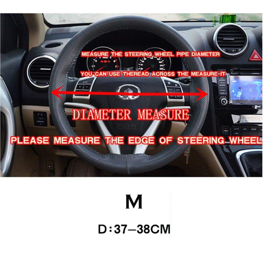 Genuine Leather DIY Car Steering Wheel Cover With Needles and Thread With golden tire race brown Suitable steering wheel diameter is 37-38 cm