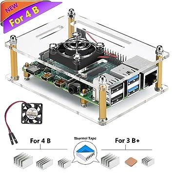 iUniker Raspberry Pi 4 Case, Raspberry Pi 4b Case with Fan Raspberry Pi Fan  Case with Raspberry Pi 4 Heatsink Raspberry Pi Heatsink for Raspberry Pi 4