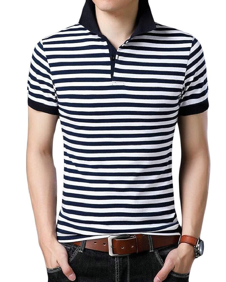 Mens Stripe Lightweight Lapel Short Sleeve Slim T-Shirt Tops Blouse