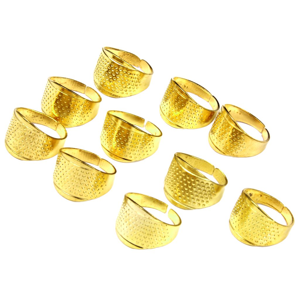 Ioffersuper 5X Thimble Sewing Quilting Metal Thimble Ring DIY Leather Craft Finger Protector