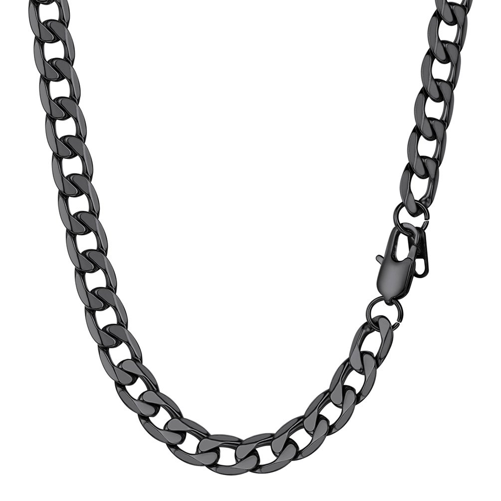 PROSTEEL Cuban Link Black Necklace Stainless Steel 9mm Big Wide Long Chain Chunky Necklace 30'' Men Jewelry Gift