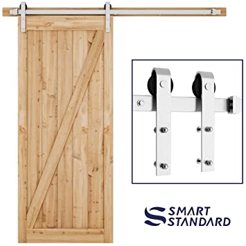 Smartstandard 6 6ft Heavy Duty Sliding Barn Door Hardware Kit Single Rail Stainless Steel