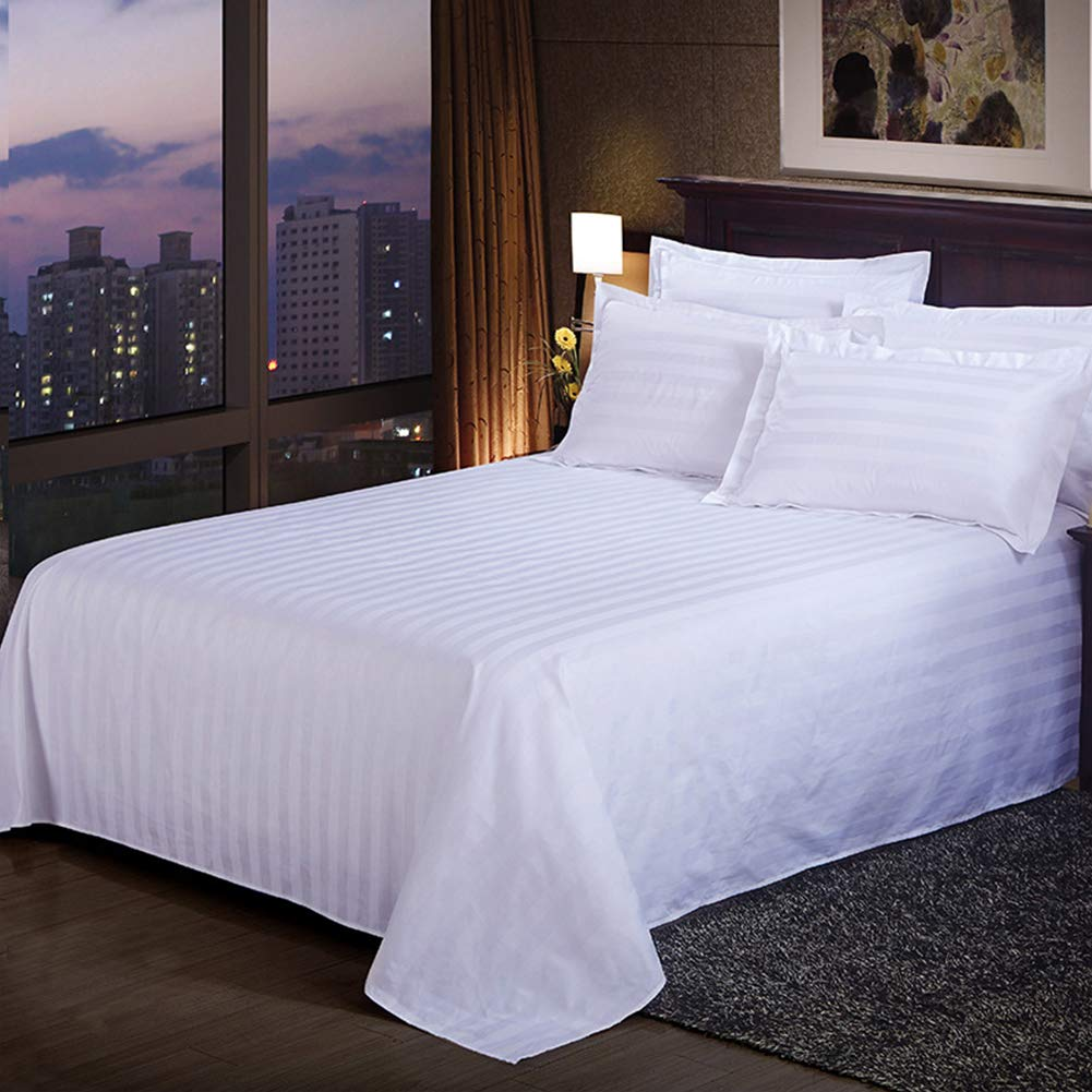 Ocamo Solid Color Flat Sheet Exquisite White Satin Stripes Bedspread for Hotel Home Supplies 180X230