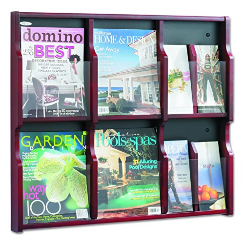 Safco Products 5703MH Expose Literature Display, 6 Magazine 12 Pamphlet, Mahogany/Black