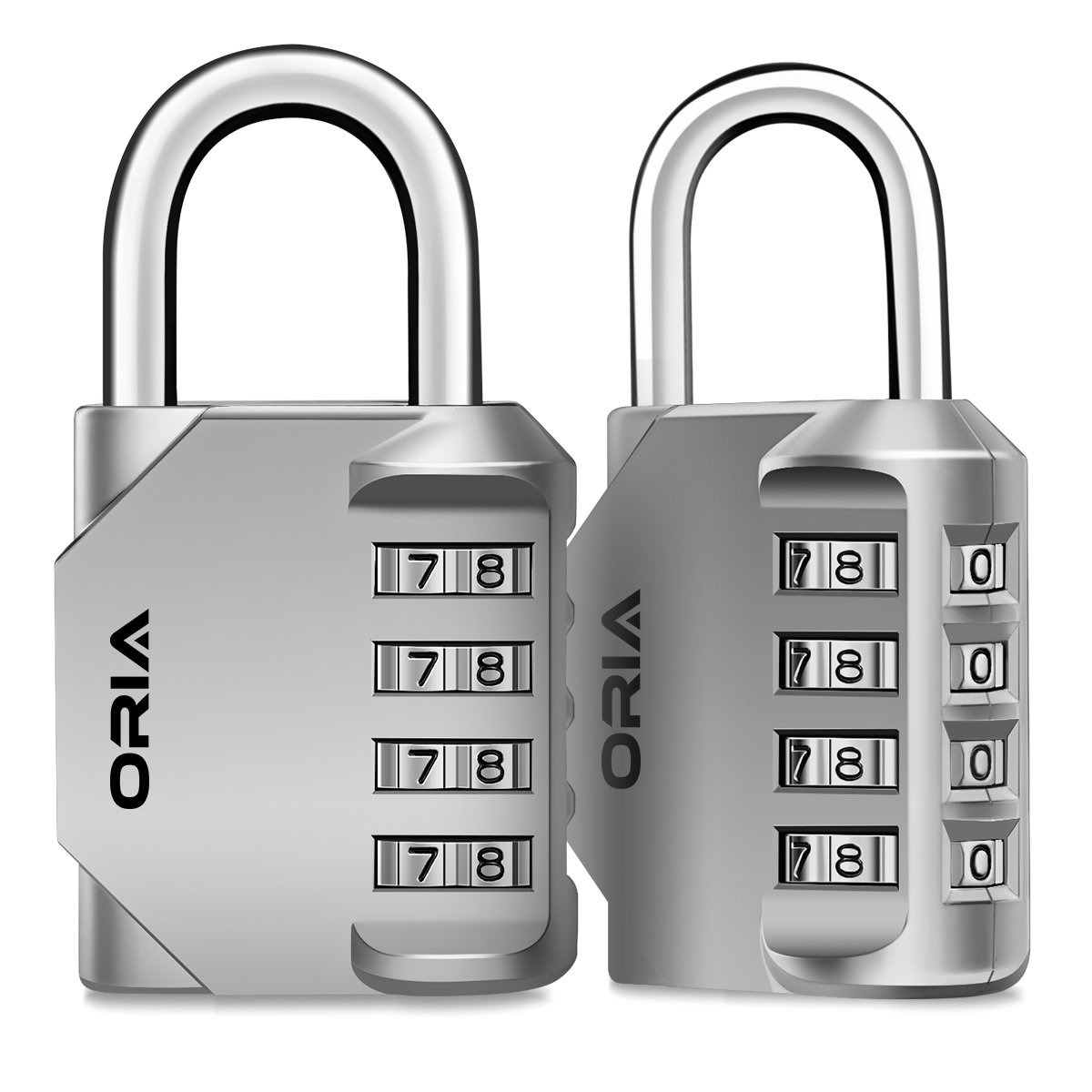 ORIA Combination Lock, 4 Digit Combination Padlock for School, Employee, Gym & Sports Locker, Case, Toolbox, Fence, Hasp Cabinet & Storage - Silver and 2 Pack by ORIA