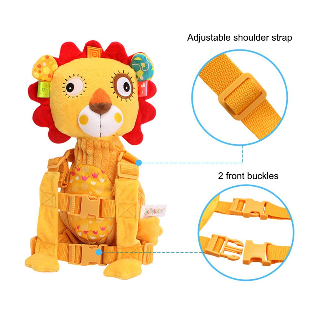 Kids Soft Plush 2 in 1 Harness Safety Toddler Backpack with Leash for Walking Cute Baby Small Stuffed Animal Doll Toy Yellow Lion