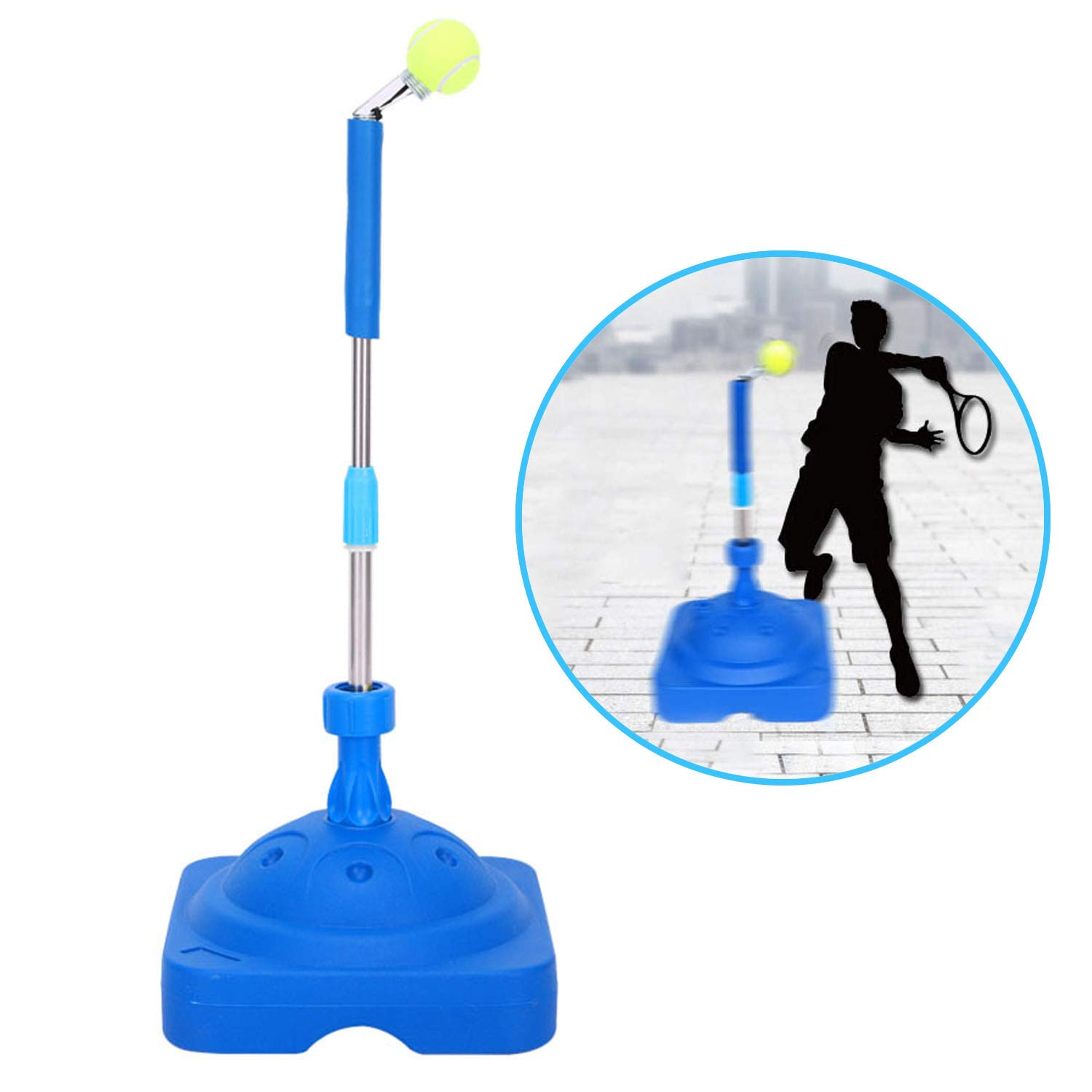 Fantaxdic Tennis Trainer Aid for Child Adult Tennis Training Partner for Beginners Holder Tennis Ball Self-Study Practice Tool Equipment Sport Exercise with 2 Balls Holder