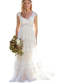 Dressesonline Womens Bohemian Wedding Dresses Lace Bridal Gown Backless Vestido De Noivas