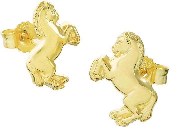 Paar 333 8 Karat Gelbgold Pferd Kinder Ohrstecker Ohrringen Damen Mädchen 9052