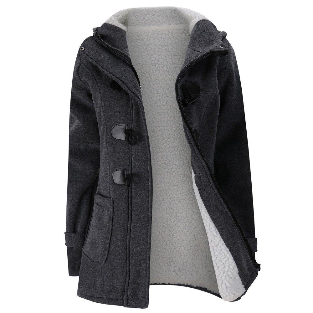 VANSOON Womens Coat Tunic Zipper Jacket, Keep Warm Windbreaker Outwear Warm Wool Slim Long Coat Trench