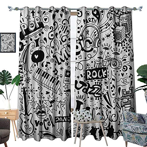 - Warm Family Doodle Thermal Insulating Blackout Curtain Music Collection with an Abstract Drawing Rock Jazz Blues Genre Classic Dancing Patterned Drape for Glass Door W72 x L108 Black White