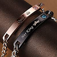 wanmanee His And Her Her King His Queen Alloy Fashion Couple Lover Bracelet Women JEW (Couple)