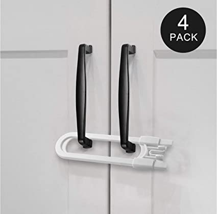 4 Pack White Child Safety Sliding U-Shape Cabinet Locks Baby Proof Your Home