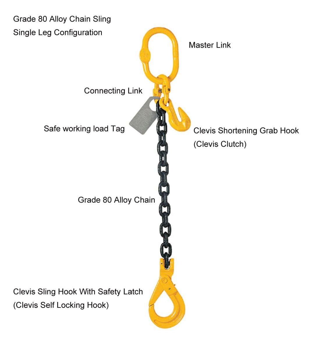 8mm, 1 leg lifting chain 3m with shortening grab hooks and clevis self-locking hooks The Ratchet Shop