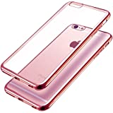 IWAVION Shock-Absorption Metal Plating Bumper with Anti-Scratch Crystal Clear Back TPU Soft Flexible Protective Case Cover For Apple iPhone 6/6s,4.7 inch (Rose Gold)