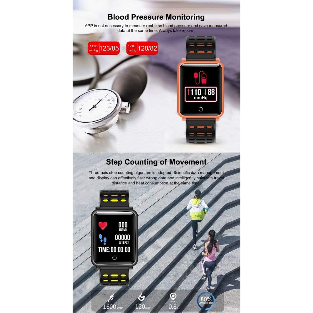 Perseguidor De La Aptitud, Monitor Elegante del Ritmo Cardíaco De La Pulsera De Bluetooth para iOS Android, El Mejor Regalo,Black: Amazon.es: Jardín