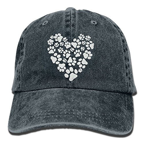 Distressed Heart (Men Women's Dog Paw Heart Distressed Cotton Denim Baseball Cap Hat)