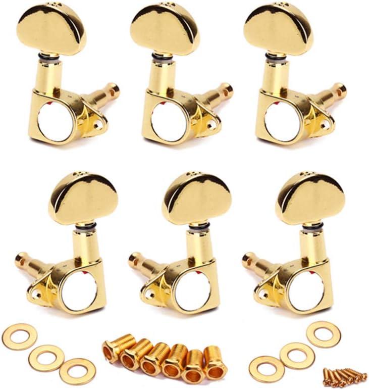 HEALLILY - Clavijas de afinación para guitarra, 3 izquierdas, 3 derechas, clavijas doradas para guitarra eléctrica acústica