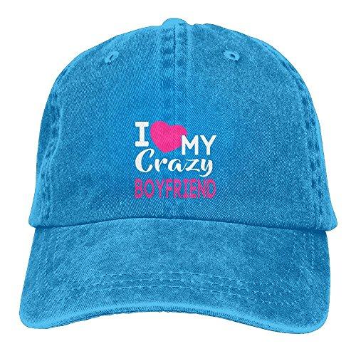 Uanqunan Love My Crazy Boyfriend Unisex Cotton Denim Baseball Cap Adjustable Strap Low Profile Plain Hats Royalblue