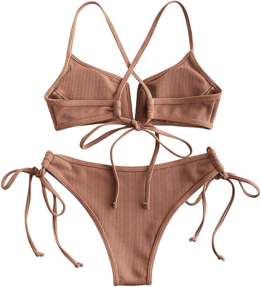 ZAFUL Womens V-Wire Padded Ribbed High Cut Cami Bikini Set Two Piece Swimsuit