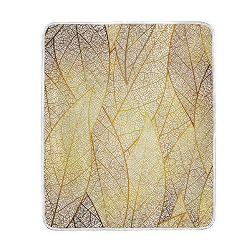 U LIFE Elegant Gold Leaves Texture Soft Fleece Throw Blanket