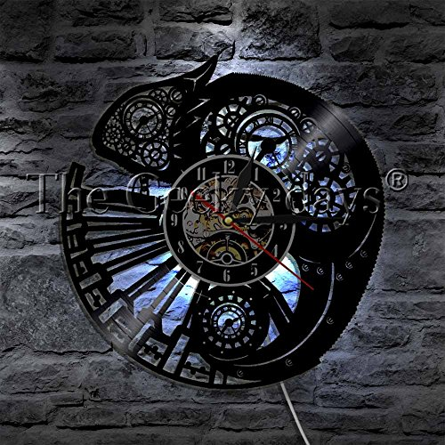 - Chameleon Nursery Home Decor Wall Clock Reptile Exotic Pet Vinyl Record Wall Clock Chill Tribal Gecko Lizard Serpent Wall Art (With Led)