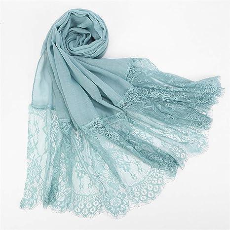 ZHENSIR Bordes de Encaje Bufanda Hijab Mujer Llanura Abrigo de ...