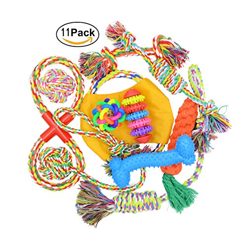 AINOLWAY Durable Dog Toy Rope Chew Set Play Tug of War Balls Squeaky Toys Variety Gift Pack for Small Medium Pet Interactive ( 11 Pack ) (Durable Pack)