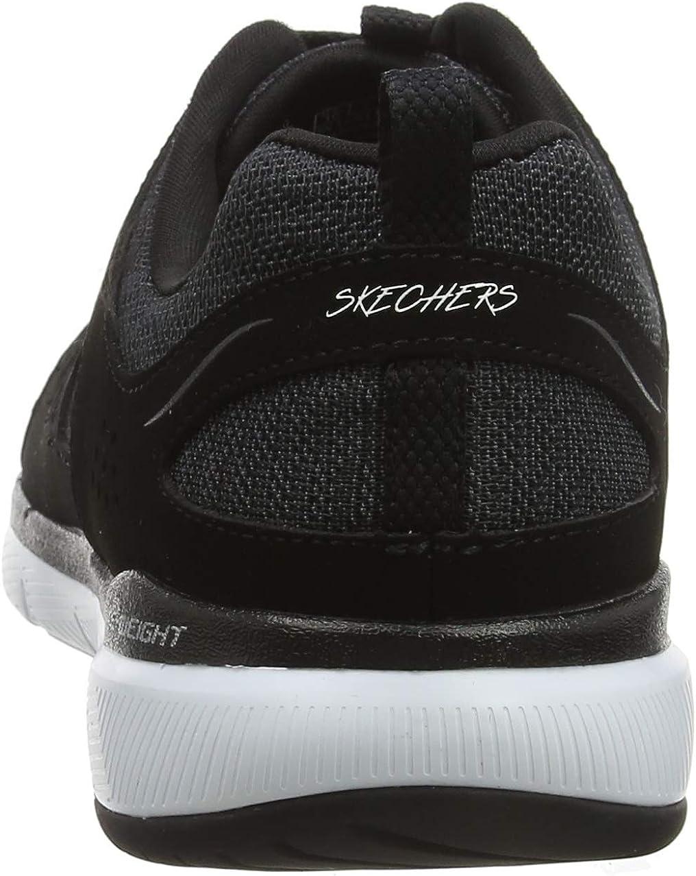 Skechers Women's Flex Appeal 3.0-Billow Trainers Black Black Leather Mesh White Trim Bkw