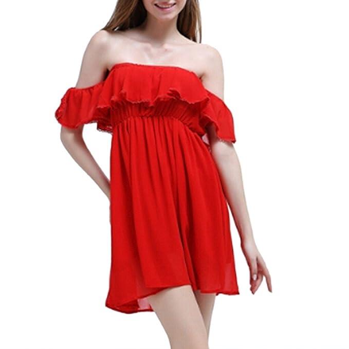 Sexy de chifón de diseño con forma de rojo pantalón corto diseño de vestido de fiesta volantes de encendido y apagado Mini para el hombro plisada de coser ...